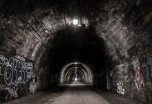 Tunnel, Old, Brick, Dark,