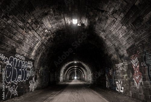 tunnel, old, brick, dark, Fototapet