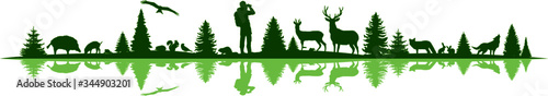 Landscape Nature Forest Animal Silhouette Vector Fototapet