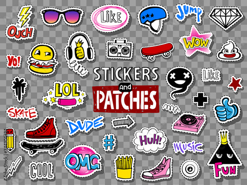 Hipsters teens stickers and patches Canvas Print
