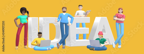 Group of young multiethnic successful people with laptop, tablet, phone and word idea on yellow background. Horizontal banner cartoon character and text website slogan. 3D rendering.
