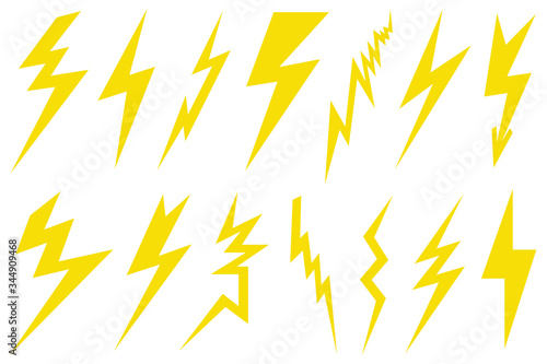 Cuadros en Lienzo Illustration of different lightning bolts isolated on white