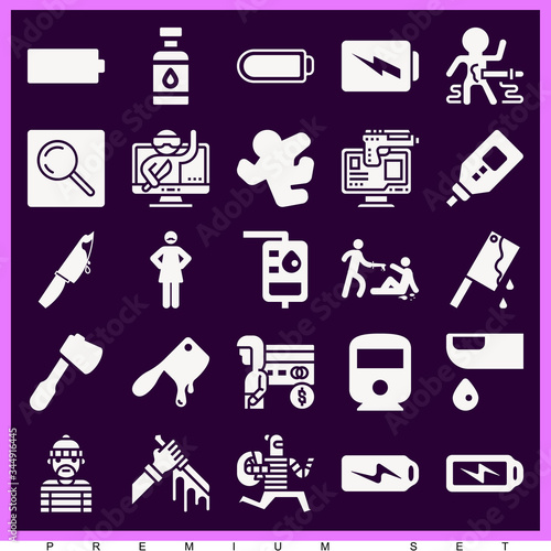 Photo Set of 25 aggravated filled icons