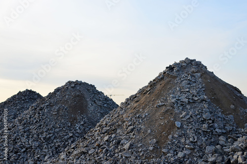 Recycled concrete aggregate (RCA) which is produced by crushing concrete reclaimed from concrete buildings, slabs, bridge decks, demolished highways Canvas Print