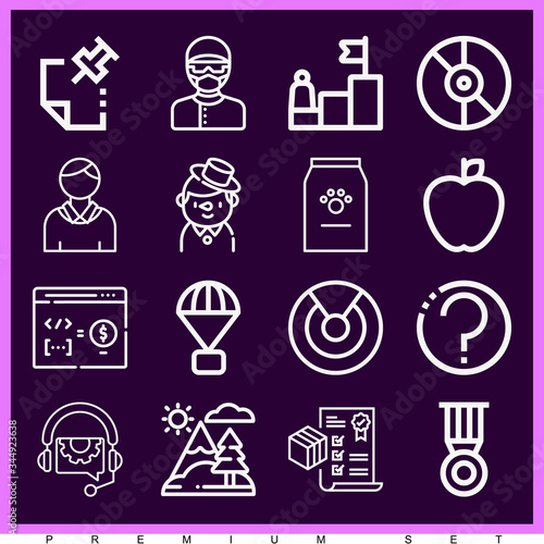 Set of 16 advance lineal icons Wallpaper Mural