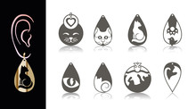 8 Earring Designs. Cutout Silhouette With Cat Shapes: Eye, Face, Figure, Foot. Template Is Suitable For Creating Fashion & Charm Women Jewellery (earrings, Necklace, Key Chain) Or Interior Decor.