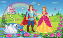 Beautiful Elf Princess, Prince, Swan.  King And Queen. Fairytale Background. Flower Meadow, Castle, Rainbow, Lake. Wonderland. Magical Landscape. Children Cartoon Illustration. Romantic Story. Vector.
