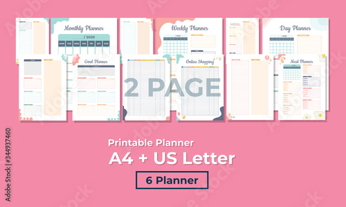 Obraz Minimalist planner, 2 pages, templates collection set of vector paper A4 and US Letter Ai, EPS 10 and PDF File - fototapety do salonu