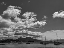 Black And White Photography Of Vesuvius Seen From The Naples Bay