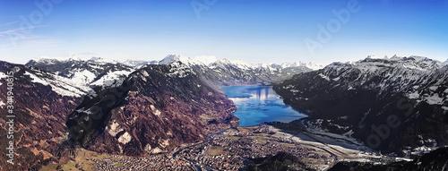 Aerial panorama city of Interlaken and Brienz lake #344940815