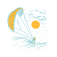 Kite Surfing. Sketch Vector Wh...