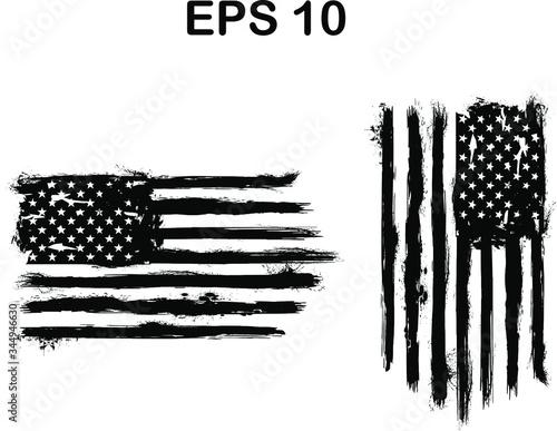 USA Flag - Distressed american flag with splash elements,  eps 10, patriot flag, Canvas Print