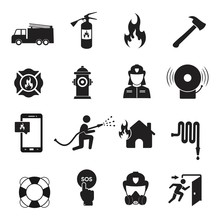 Firefighter Icon Set, Fire Department Sign Or Symbol, Vector Illustration