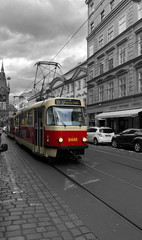 Colored tram driving through black and white streets in Europe