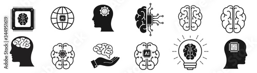 Obraz Artificial intelligence icon set. collection of brain, ai, head, machine, technology and more. vector Illustration  - fototapety do salonu