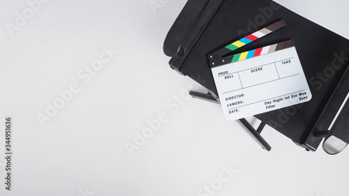 Obraz na plátně Clapper board or or movie slate with director chair