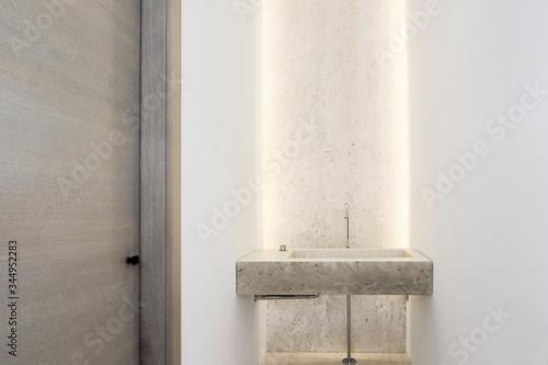 Fotografie, Obraz Luxury marble basin with background light