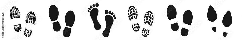 Fototapeta Different human footprints icon set. shoe footprints, Vector Illustration
