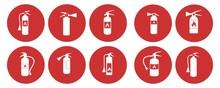 Fire Extinguisher Icon Set, Isolated On White Background,  Vector Illustration