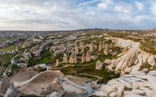 Beautiful Unusual Rocky Landscape Of The Area In Cappadocia. The Mountains Are Like Mushrooms