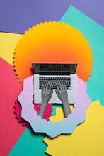 Illustration Of Man Working On Laptop