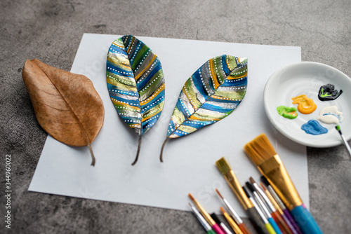 Painting leaves colors, crafts and art therapy for adults and kids. Classic Leaf painting art. 2020 isolation project.