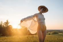 Sunset Portrait Of Lovely Model