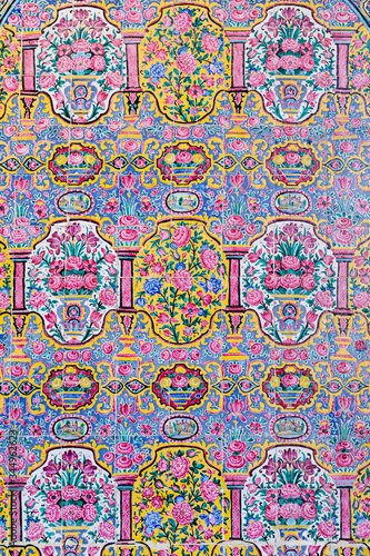 Floral Tiles in Pink Mosque - 344962623