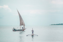 Sail Boat Off The Coast Of Zanzibar Tanzania Africa