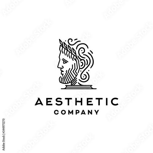 Photo greek god icon logo, Ancient Greek Philosopher Figure Face Head wearing crown St