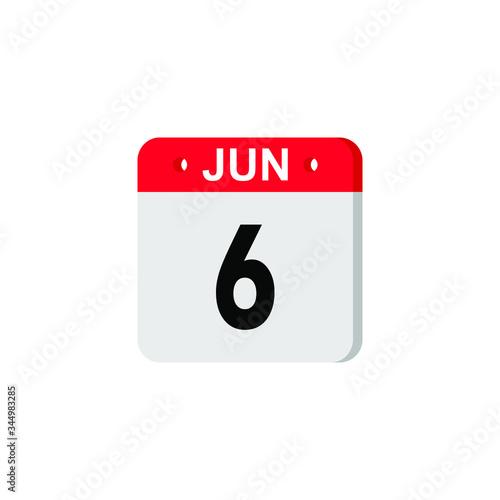 Vászonkép June 6 - Calendar Icon
