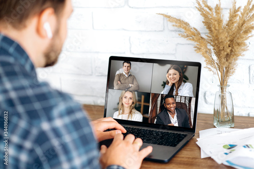 Photographie Online business meeting in video conference in the zoom app