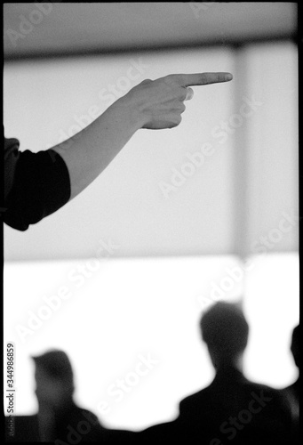 Hands gesturing making a point in business meeting