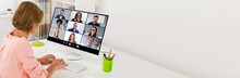 Woman Videoconferencing On Com...