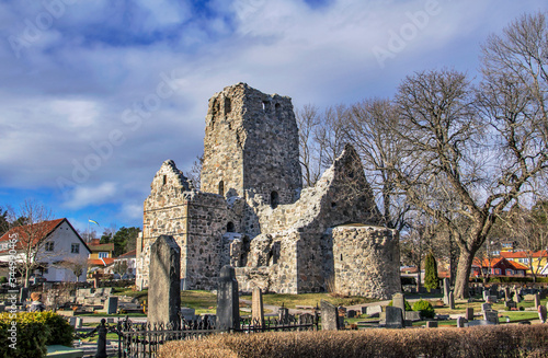 Fotomural Saint Olof Church ruins in Sigtuna, the first Christian town in Sweden