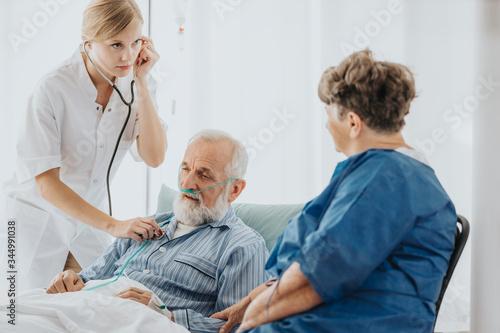 Auscultating the patient Canvas Print