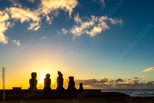 Moais in Ahu Vai Uri, Tahai Archaeological Complex, Rapa Nui National Park, Easter Island, Chile Canvas Print