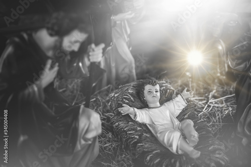 The statue of Mary Joseph and Jesus, Jesus' birthday baby is a statue of Maria and Joseph and Jesus, a newborn baby Canvas Print