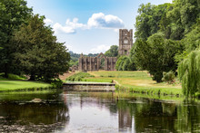 Fountains Abbey And Studley Royal On A Warm Summer Day.