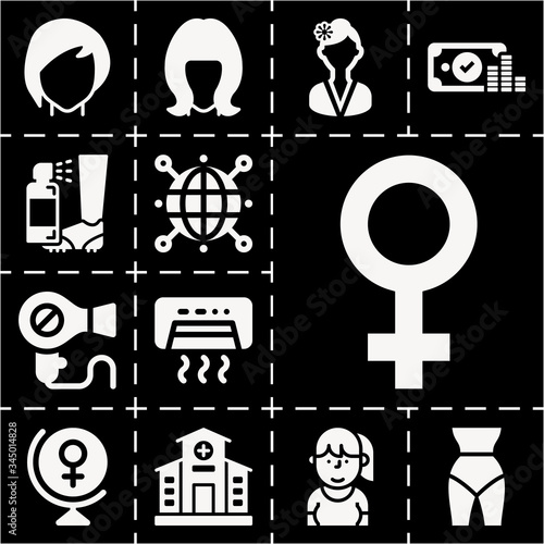 13 filled abortion icons set Canvas Print