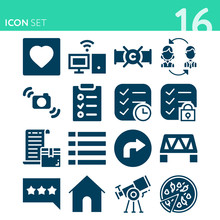 Simple Set Of 16 Icons Related...