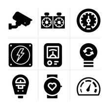 Filled Watt 9 Vector Icons Set...