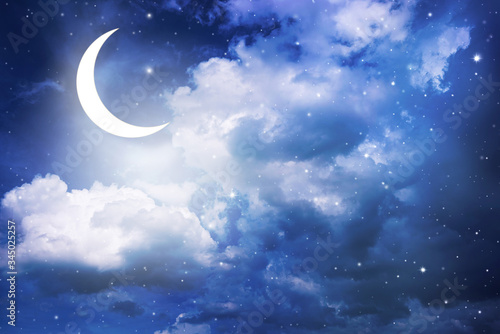 Night sky and moon, stars,Ramadan Kareem celebration. Wallpaper Mural