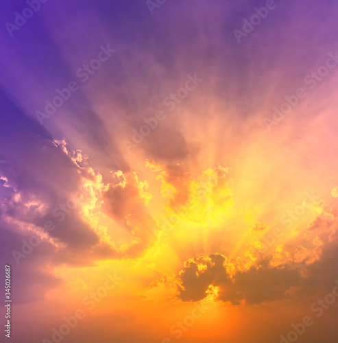 Fototapety, obrazy: orange sunet light with violet and blue colorful light in dramatic sky with sun beam light