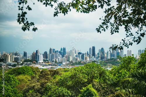 View of Panama City from Metropolitan Natural Park, Panama City, Panama, Central America  - 345028478
