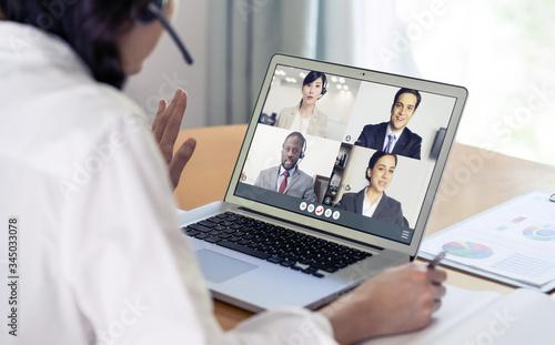 Fototapeta Video conference concept. Teleconference. Telemeeting. Webinar. Online seminar. e-Learning. obraz na płótnie