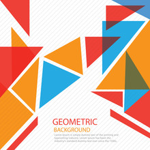 Geometrical Background With Blue And Orange Triangles And Space