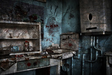 A Kitchen In Which No One Is In An Abandoned House