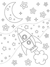 Coloring Page With Rocket, Moon, Nebulae And Stars, Black Elements On A White Background. Vector Design Template For Kids Coloring Book, Print And Poster. Entertainment And Recreation For Children