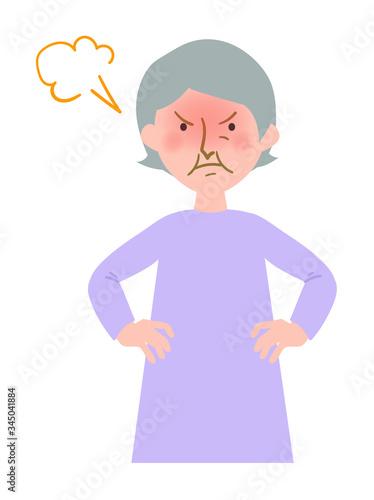 怒った表情で顔を真っ赤にするおばあちゃんのベクターイラスト Canvas Print